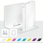 Gyűrűskönyv LEITZ lakkfényű A/4 2db D gyűrűvel 40 mm gerinc fehér 42410001