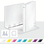 Gyűrűskönyv LEITZ lakkfényű A/4 4db D gyűrűvel 40 mm gerinc fehér 42420001