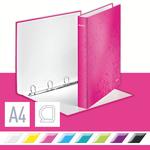 Gyűrűskönyv LEITZ lakkfényű A/4 4db D gyűrűvel 40 mm gerinc rózsaszín 42420023