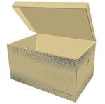 Archiváló konténer StarOffice 570x390x300mm, csapófedeles, füles, barna