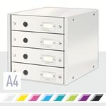Irattároló Leitz Click&Store 4-fiókos, fehér 60490001