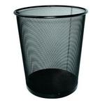 Fémhálós papírkosár kerek fekete, 12L, 23,8 átmérő x 26,5 magasság x 18,8 átmérő cm