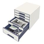 Leitz WOW CUBE fiókos irattároló, 5 fiók, fehér/szürke 52141001