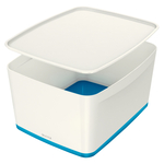 Leitz MyBox tárolódoboz fedővel, nagy, fehér/kék 52161036