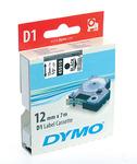 Kazetta Dymo D1 6mmx7m fekete betű/víztiszta háttér