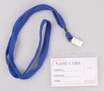 Névkitűző  kártyatok kemény műanyag, nyakpántos, cc. 92x59mm