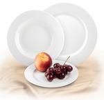Csemegetányér, Rotberg Basic fehér porcelán, 19 cm, 6db-os készlet
