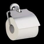 WC papir tartó fali, fém, fedeles