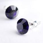 Swarovski kristályos fülbevaló sötét lila kővel
