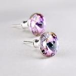 Swarovski kristályos fülbevaló ametiszt lila színjátszós kővel