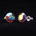 Swarovski kristályos fülbevaló fehér színjátszós opál kővel