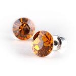 Swarovski kristályos fülbevaló topáz sárga kővel