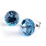 Swarovski kristályos fülbevaló aquakék kővel