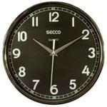 Falióra 24 cm, SECCO Sweep Second, fekete keret, fekete számlap