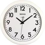 Falióra 39,5 cm, SECCO Sweep Second, fehér keret, fehér számlap