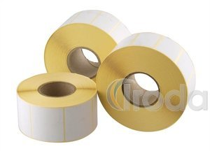 Etikett 50x25mm fehér PP, 40mm duda, 1200 címke/tekercs