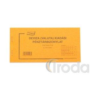 Deviza (valuta) kiadási pénztárbizonylat C318-120/V 25x2 lapos tömb