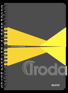 Leitz Office spirálfüzet PP borítóval, A5, kockás, sárga 44980015