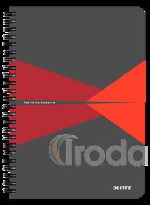 Leitz Office spirálfüzet PP borítóval, A5, kockás, piros 44980025