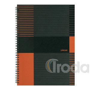 Marker Linear Spirálozott jegyzettömb, A6 80lap kockás,keményfedelű