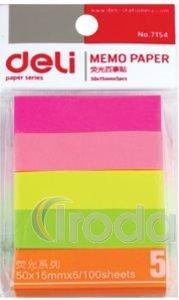 Öntapadós jelölő címke, 50x15 mm, 5 színű, 100lap/szín, papír