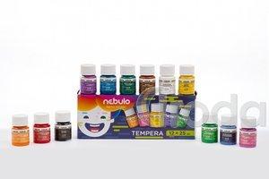 Tempera készlet, tégelyes, 25 ml-es, 12 színes, Nebulo