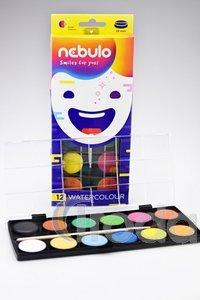 Vízfesték készlet, 28 mm-es, 12 színes,  ecsettel, Nebulo