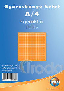 Gyűrűskönyvbetét A4 kockás 50 lapos, 4 lyukú