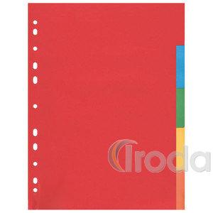 Elválasztó lap műanyag 5részes színes