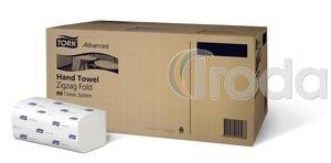 Kéztörlő Advanced Hand Towel Zigzag TORK 2rétagű tissue fehér, 250lap/csomag, 15 csomag/doboz (H3 rendsz)