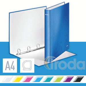Gyűrűskönyv LEITZ lakkfényű A/4 4GY D gyűrűvel 40 mm gerinc kék 42420036