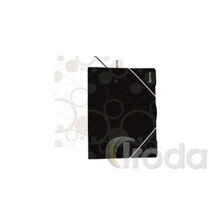 P+P Black&White gumis mappa,A4,fekete,polipropilén