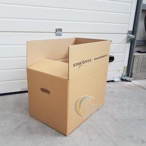 Költöztető doboz külsőméret:600x400x400mm, piskótafül kivágással, 1 szín nyomott