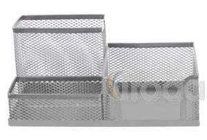 Fémhálós irodaszertartó készlet : blokktartó+ írószertartó + kapocstartó,  203X103X95 – ezüst