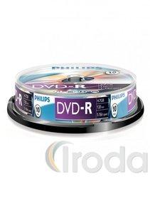 DVD-R PHILIPS, 4,7GB, 16x, hengeres, 10db/henger