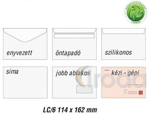 Boríték LC6,  jobb ablakos (35x90 mm) ablak pozíció jobb oldalról 28mm alsó éltől 20mm, enyvezett, újrahasznosított