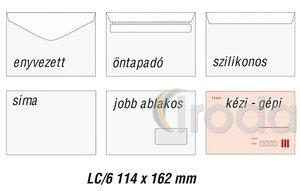 Boríték LC6, ablak nélküli, szilikonos