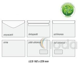 Boríték LC5, bal ablakos (45x90 mm) ablak pozíció bal oldalról 20mm alsó éltől 60mm, enyvezett, újrahasznosított
