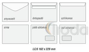Boríték LC5, bal ablakos (45x90 mm), ablak pozíció bal oldalról 20mm alsó éltől 60mm, szilikonos