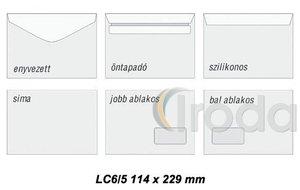 Boríték LC6/5 enyvezett jobb ablak 45x90mm 114x229mm gépi töltésre