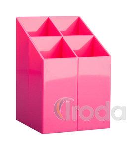 Írószertartó 4 rekeszes, négyszögletű, rózsaszín