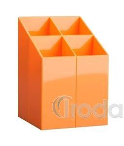 Írószertartó 4 rekeszes, négyszögletű, narancs