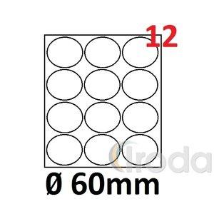 Köretikett 60mm 12 cimke/lap 5lap/csom