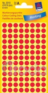 Jelölőpont Avery 8mm-es piros, 3010