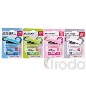 Tűzőgép Deli Color Mini Szett fém/műanyag test, kapacitás: 10-12lap, gép + No.10 kapocs