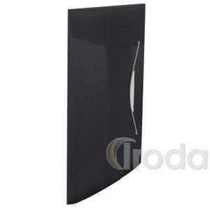 Gumis mappa Esselte 3pólyás 150 laphoz műanyag áttetsző VIVIDA fekete 624043