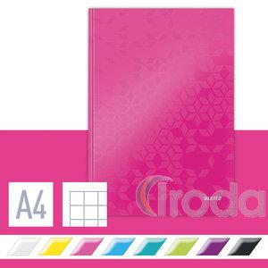 Lakkfényű WOW beírókönyv A4, kockás, rózsaszín 46261023