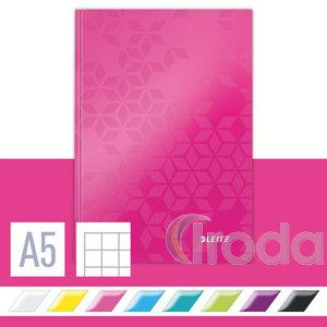 Lakkfényű WOW beírókönyv A5, kockás, rózsaszín 46281023
