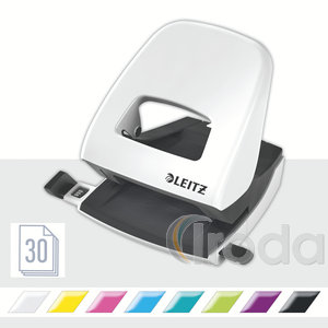 Lyukasztó Leitz 5008 NEXXT metálfényű fehér fém test, max.30laphoz 50081001