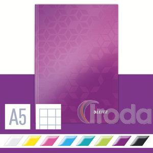 Lakkfényű WOW beírókönyv A5, kockás, lila 46281062